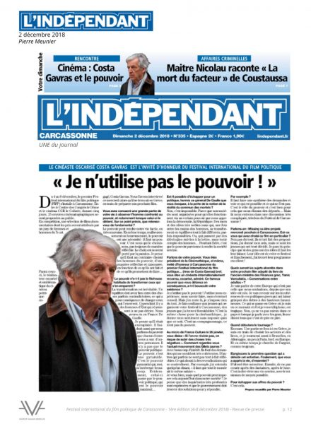 Festival du film politique - FIFP - Carcassonne - 2018 - Relations presse - Festival - Cinéma - L'Indépendant