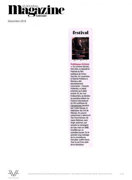 Festival du film politique - FIFP - Carcassonne - 2018 - Relations presse - Festival - Cinéma - Le Nouveau magazine littéraire