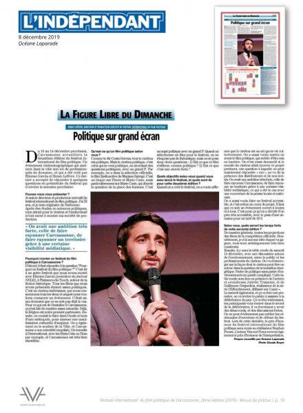 Festival du film politique - FIFP - Carcassonne - 2019 - Relations presse - Festival - Cinéma - L'Indépendant