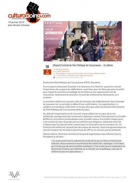 Festival du film politique - FIFP - Carcassonne - 2019 - Relations presse - Festival - Cinéma -Culturopoing