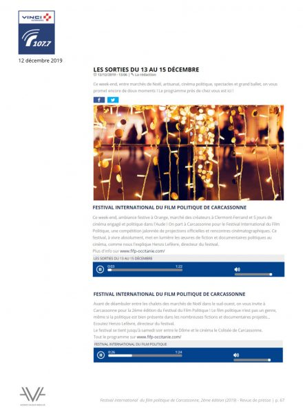 Festival du film politique - FIFP - Carcassonne - 2019 - Relations presse - Festival - Cinéma - Radio Vinci autoroute