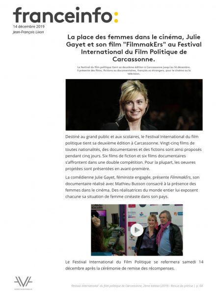 Festival du film politique - FIFP - Carcassonne - 2019 - Relations presse - Festival - Cinéma - Franceinfo