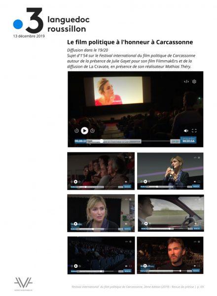 Festival du film politique - FIFP - Carcassonne - 2019 - Relations presse - Festival - Cinéma - France 3 région
