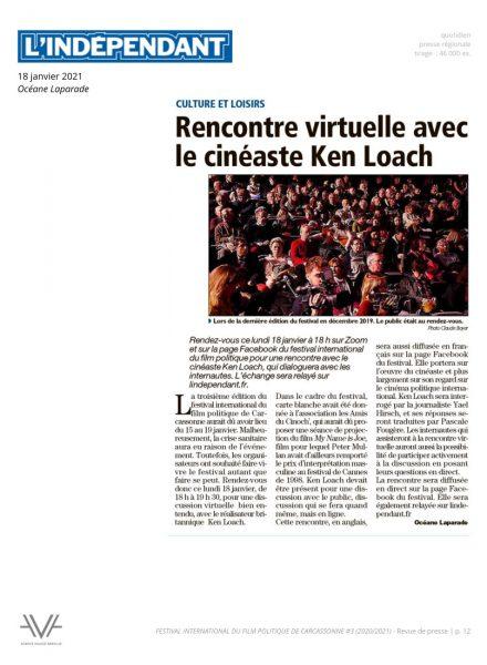 Festival du film politique - FIFP - Carcassonne - 2020 - 2021 - Relations presse - Festival - Cinéma - L'Indépendant