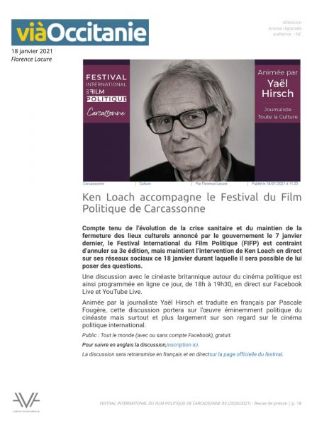 Festival du film politique - FIFP - Carcassonne - 2020 - 2021 - Relations presse - Festival - Cinéma - Via Occitanie