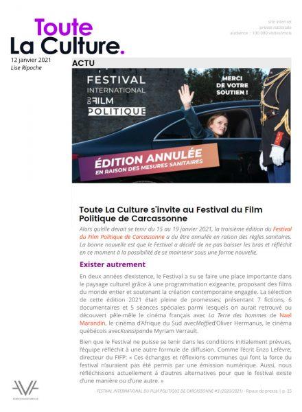Festival du film politique - FIFP - Carcassonne - 2020 - 2021 - Relations presse - Festival - Cinéma - Toute La Culture