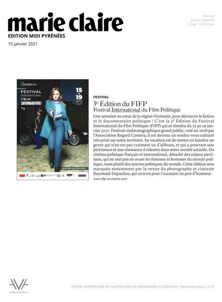 Festival du film politique - FIFP - Carcassonne - 2020 - 2021 - Relations presse - Festival - Cinéma - Marie Claire