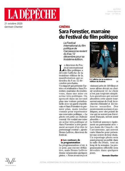 Festival du film politique - FIFP - Carcassonne - 2020 - 2021 - Relations presse - Festival - Cinéma - La Dépêche du midi