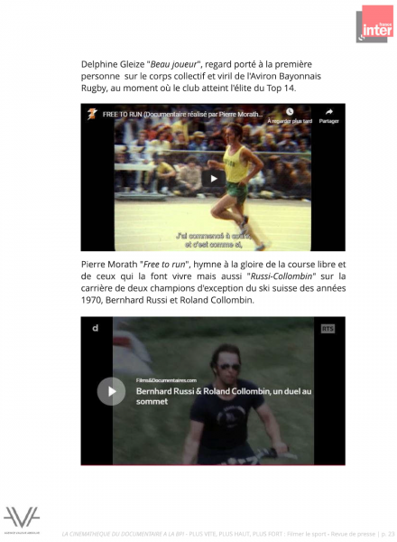 La Cinémathèque du documentaire - Bibliothèque publique d'information - Bpi - Filmer le sport - France Inter - revue de presse - relations presse - attaché de presse - cinéma - documentaire - festival