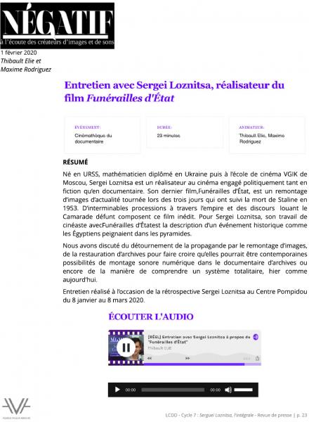 Loznista - La Cinémathèque du documentaire - Bibliothèque publique d'information - Bpi - revue de presse - relations presse - attaché de presse - cinéma - documentaire - festival
