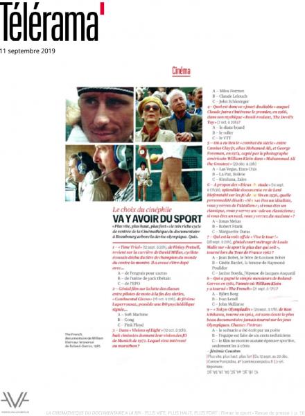 Filmer le sport - La Cinémathèque du documentaire - Bibliothèque publique d'information - Bpi - revue de presse - relations presse - attaché de presse - cinéma - documentaire - festival