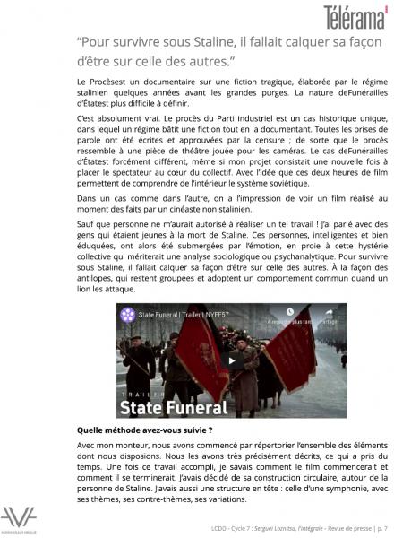 Loznitsa - La Cinémathèque du documentaire - Bibliothèque publique d'information - Bpi - revue de presse - relations presse - attaché de presse - cinéma - documentaire - festival