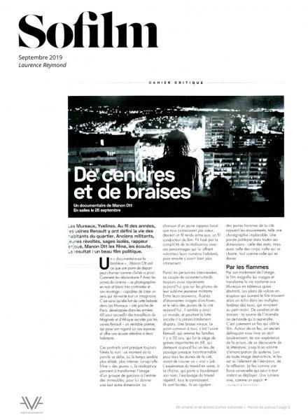 De cendres et de braises - film - documentaire - Manon Ott - sortie nationale - relations presse - So Film
