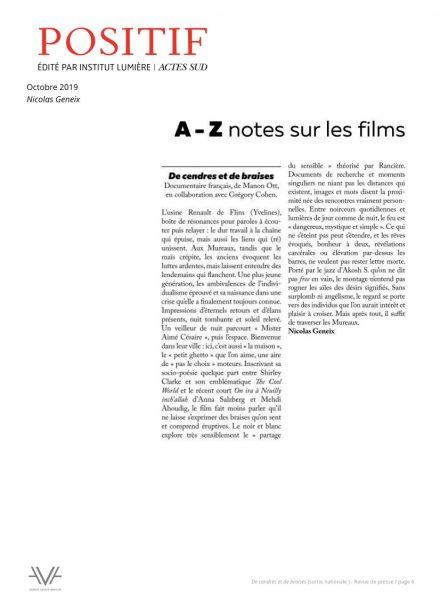 De cendres et de braises - film - documentaire - Manon Ott - sortie nationale - relations presse - Positif