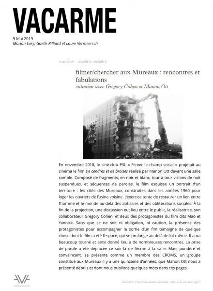 De cendres et de braises - film - documentaire - Manon Ott - sortie nationale - relations presse - Revue Vacarme