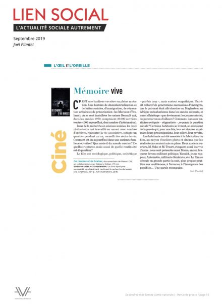 De cendres et de braises - film - documentaire - Manon Ott - sortie nationale - relations presse - Lien social