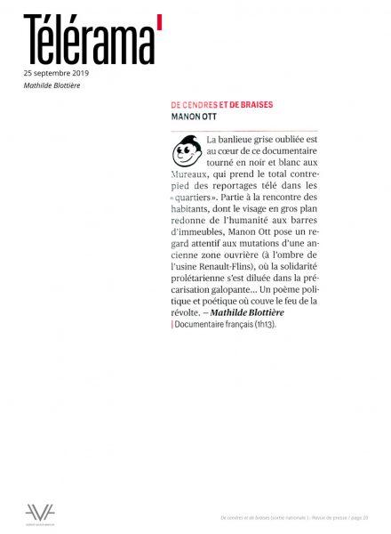 De cendres et de braises - film - documentaire - Manon Ott - sortie nationale - relations presse - Télérama
