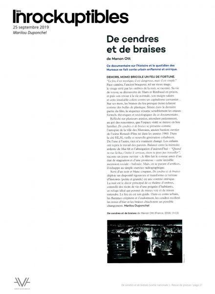 De cendres et de braises - film - documentaire - Manon Ott - sortie nationale - relations presse - Les Inrockuptibles