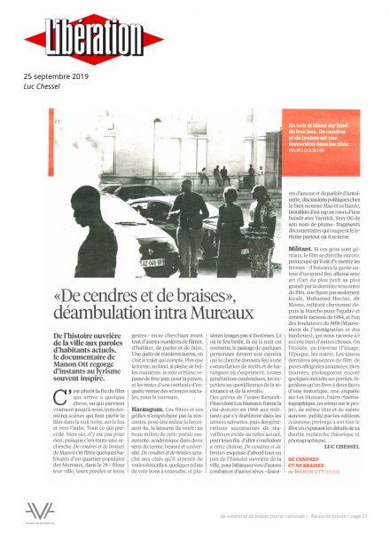 De cendres et de braises - film - documentaire - Manon Ott - sortie nationale - relations presse - Libération