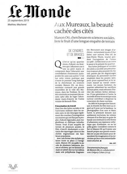 De cendres et de braises - film - documentaire - Manon Ott - sortie nationale - relations presse - Le Monde