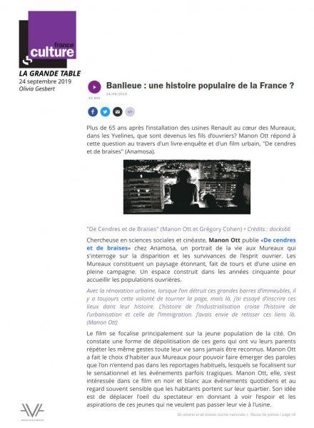 De cendres et de braises - film - documentaire - Manon Ott - sortie nationale - relations presse - France Culture - La Grande Table