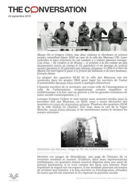 De cendres et de braises - film - documentaire - Manon Ott - sortie nationale - relations presse - The conversation