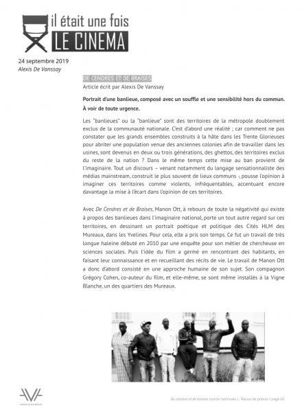De cendres et de braises - film - documentaire - Manon Ott - sortie nationale - relations presse - Il était une fois le cinéma
