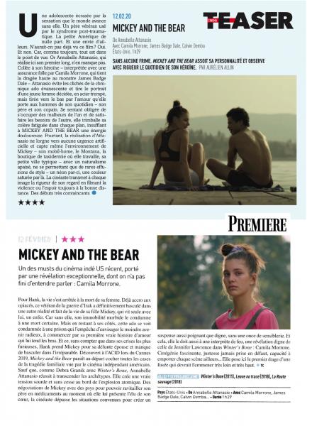Revue de presse - Mickey and The Bear - Annabelle Attanasio - cinéma - film - sortie - cinéma indépendant - ACID - festival de Cannes - festival de deauville - relation presse - attachée de presse - films américain - film indépendant - camila Morrone - James Badge Dale - Wayna Pitch - distribution