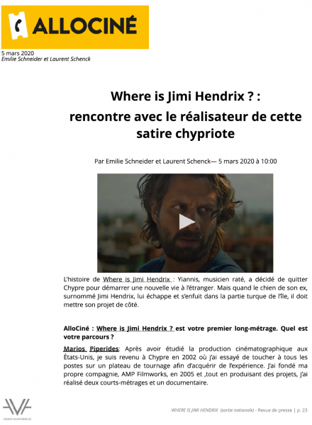 Where is Jimi Hendrix - film - revue de presse - relations presse - attaché de presse - cinéma - culture
