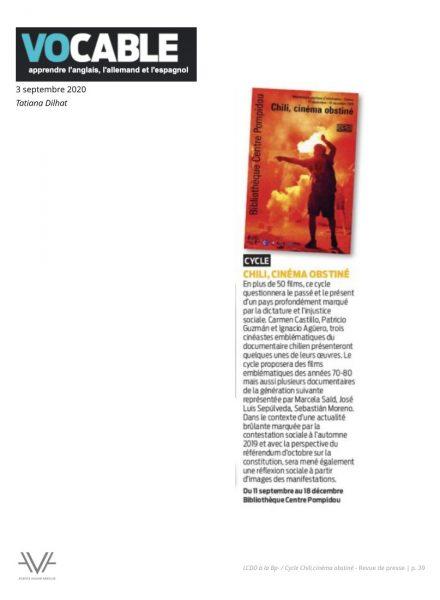 Chili - La Cinémathèque du documentaire - Bibliothèque publique d'information - Bpi - revue de presse - relations presse - attaché de presse - cinéma - documentaire - festival