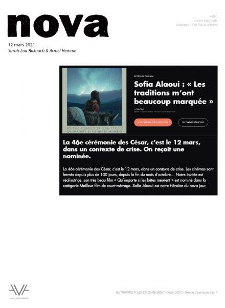 Qu'importe si les bêtes meurent - film - court métrage - Sofia Alaoui - César 2021 - relations presse - Nova - La Matinale
