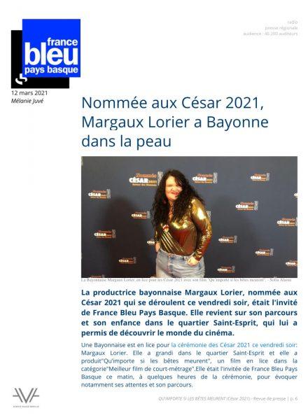 Qu'importe si les bêtes meurent - film - court métrage - Sofia Alaoui - César 2021 - relations presse - France Bleu - Margaux Lorier