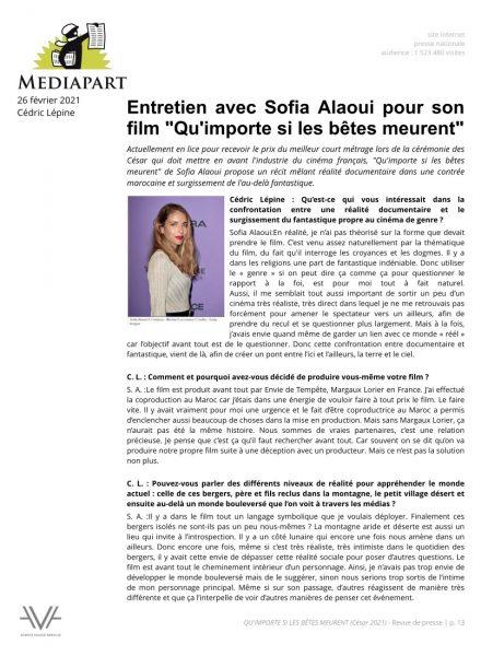 Qu'importe si les bêtes meurent - film - court métrage - Sofia Alaoui - César 2021 - relations presse - Mediapart