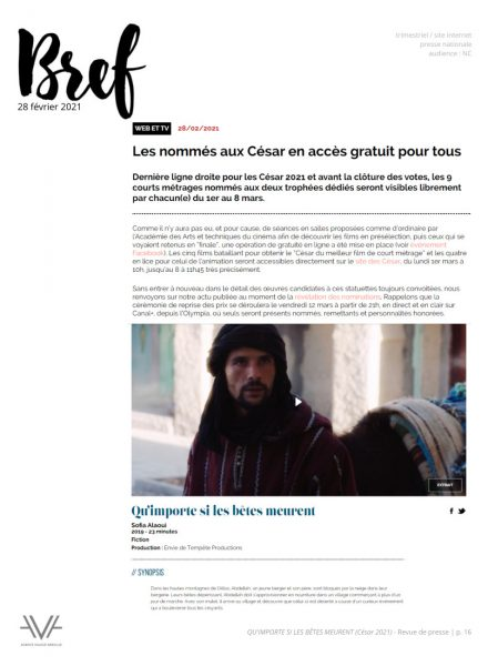 Qu'importe si les bêtes meurent - film - court métrage - Sofia Alaoui - César 2021 - relations presse - Bref