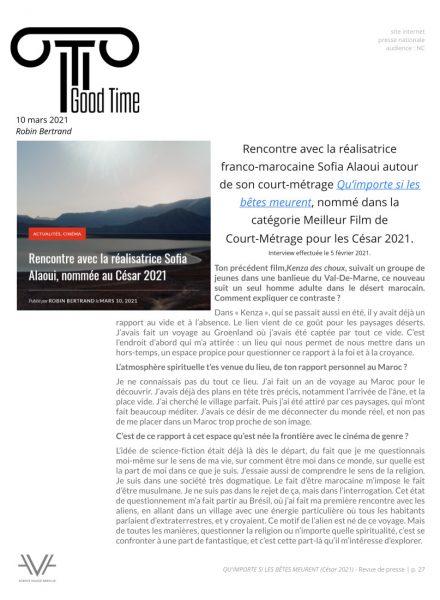 Qu'importe si les bêtes meurent - film - court métrage - Sofia Alaoui - César 2021 - relations presse - Good Time magazine