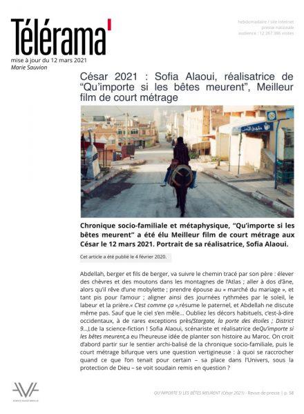Qu'importe si les bêtes meurent - film - court métrage - Sofia Alaoui - César 2021 - relations presse - Télérama